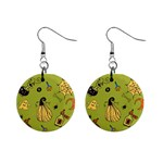 Funny Scary Spooky Halloween Party Design Mini Button Earrings Front