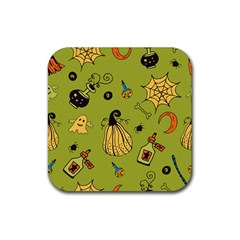 Funny Scary Spooky Halloween Party Design Rubber Coaster (square)