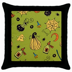 Funny Scary Spooky Halloween Party Design Throw Pillow Case (black)