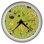Funny Scary Spooky Halloween Party Design Wall Clock (Silver) Front