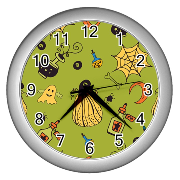 Funny Scary Spooky Halloween Party Design Wall Clock (Silver)