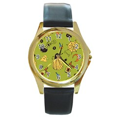 Funny Scary Spooky Halloween Party Design Round Gold Metal Watch