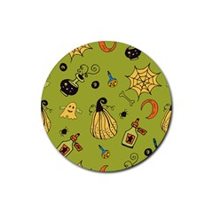Funny Scary Spooky Halloween Party Design Rubber Round Coaster (4 Pack)