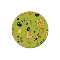 Funny Scary Spooky Halloween Party Design Magnet 3  (round)
