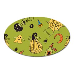 Funny Scary Spooky Halloween Party Design Oval Magnet
