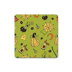 Funny Scary Spooky Halloween Party Design Square Magnet