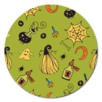Funny Scary Spooky Halloween Party Design Magnet 5  (Round) Front