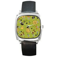 Funny Scary Spooky Halloween Party Design Square Metal Watch