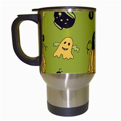 Funny Scary Spooky Halloween Party Design Travel Mugs (white)