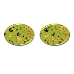 Funny Scary Spooky Halloween Party Design Cufflinks (oval)