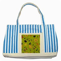 Funny Scary Spooky Halloween Party Design Striped Blue Tote Bag