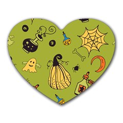 Funny Scary Spooky Halloween Party Design Heart Mousepads by HalloweenParty