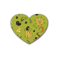 Funny Scary Spooky Halloween Party Design Heart Coaster (4 Pack)