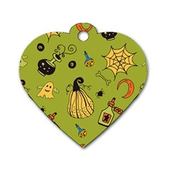 Funny Scary Spooky Halloween Party Design Dog Tag Heart (two Sides) by HalloweenParty