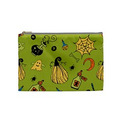 Funny Scary Spooky Halloween Party Design Cosmetic Bag (medium)