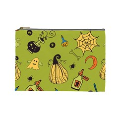 Funny Scary Spooky Halloween Party Design Cosmetic Bag (large)