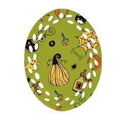 Funny Scary Spooky Halloween Party Design Ornament (oval Filigree) by HalloweenParty