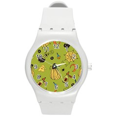 Funny Scary Spooky Halloween Party Design Round Plastic Sport Watch (m)
