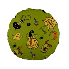 Funny Scary Spooky Halloween Party Design Standard 15  Premium Round Cushions