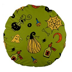 Funny Scary Spooky Halloween Party Design Large 18  Premium Round Cushions