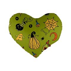 Funny Scary Spooky Halloween Party Design Standard 16  Premium Heart Shape Cushions
