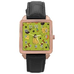 Funny Scary Spooky Halloween Party Design Rose Gold Leather Watch