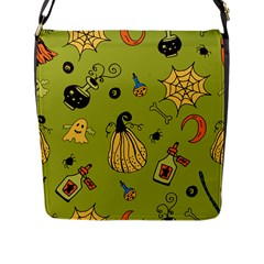 Funny Scary Spooky Halloween Party Design Flap Closure Messenger Bag (l) by HalloweenParty