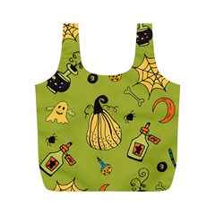 Funny Scary Spooky Halloween Party Design Full Print Recycle Bag (m) by HalloweenParty