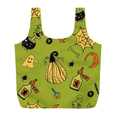 Funny Scary Spooky Halloween Party Design Full Print Recycle Bag (l)
