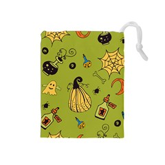 Funny Scary Spooky Halloween Party Design Drawstring Pouch (medium) by HalloweenParty