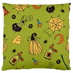 Funny Scary Spooky Halloween Party Design Large Flano Cushion Case (one Side) by HalloweenParty