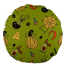 Funny Scary Spooky Halloween Party Design Large 18  Premium Flano Round Cushions