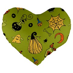Funny Scary Spooky Halloween Party Design Large 19  Premium Flano Heart Shape Cushions