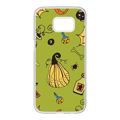 Funny Scary Spooky Halloween Party Design Samsung Galaxy S7 Edge White Seamless Case