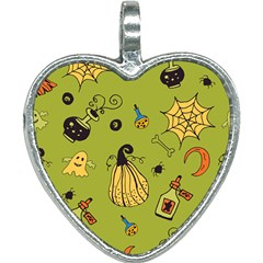 Funny Scary Spooky Halloween Party Design Heart Necklace