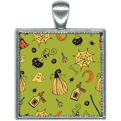 Funny Scary Spooky Halloween Party Design Square Necklace by HalloweenParty