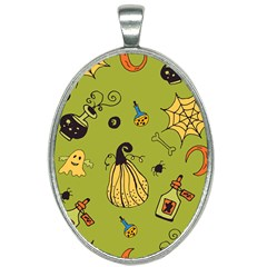 Funny Scary Spooky Halloween Party Design Oval Necklace by HalloweenParty