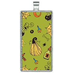 Funny Scary Spooky Halloween Party Design Rectangle Necklace by HalloweenParty