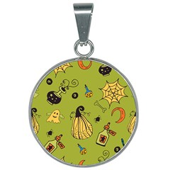 Funny Scary Spooky Halloween Party Design 25mm Round Necklace by HalloweenParty