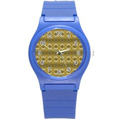 Golden Ornate Pattern Round Plastic Sport Watch (s) by dflcprintsclothing