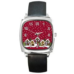 Winter Idyll Square Metal Watch by Valentinaart