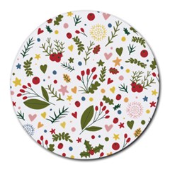 Floral Christmas Pattern  Round Mousepads by Valentinaart