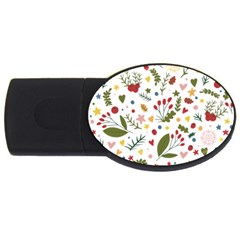 Floral Christmas Pattern  Usb Flash Drive Oval (4 Gb) by Valentinaart
