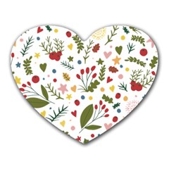 Floral Christmas Pattern  Heart Mousepads by Valentinaart