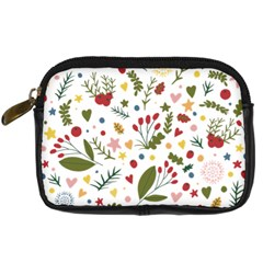 Floral Christmas Pattern  Digital Camera Leather Case by Valentinaart