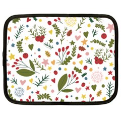 Floral Christmas Pattern  Netbook Case (xxl) by Valentinaart