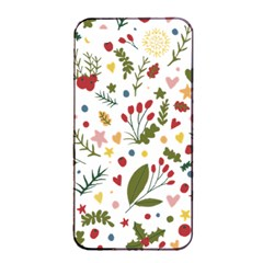 Floral Christmas Pattern  Apple Iphone 4/4s Seamless Case (black) by Valentinaart