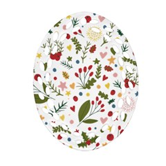 Floral Christmas Pattern  Ornament (oval Filigree) by Valentinaart