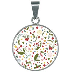 Floral Christmas Pattern  25mm Round Necklace