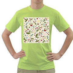 Floral Christmas Pattern  Green T Shirt by Valentinaart